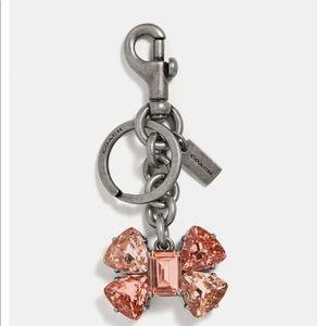 COACH CrystalBOW BAG CHARM / key ring silver/blush